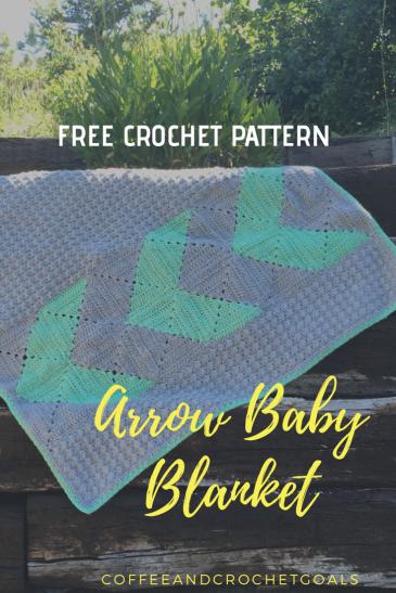 A free crochet pattern for the gender neutral Arrow Baby Blanket.