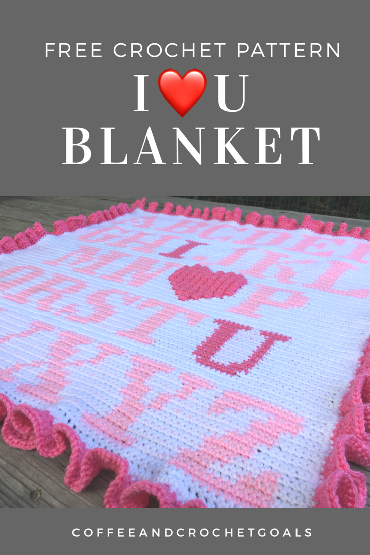 A sweet and simple graphghan featuring a bobbled heart.