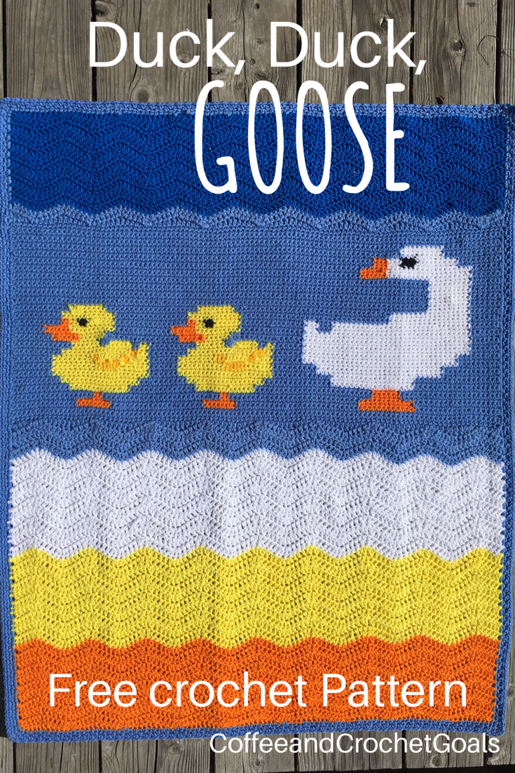 This Duck, duck, goose crochet baby blanket is perfect for a little baby boy..
