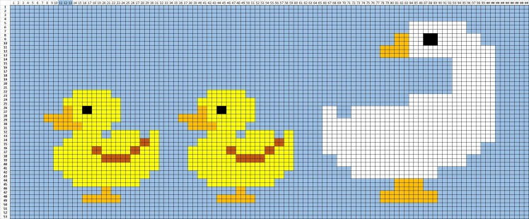 The grapg for the free crochet baby blanket Duck, duck, goose