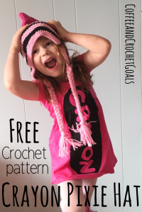 The crayon Pixie Hat is a unique free crochet pattern to get your little ones ready for back to school