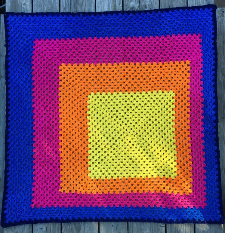 Summer Sunset crochet granny square blanket