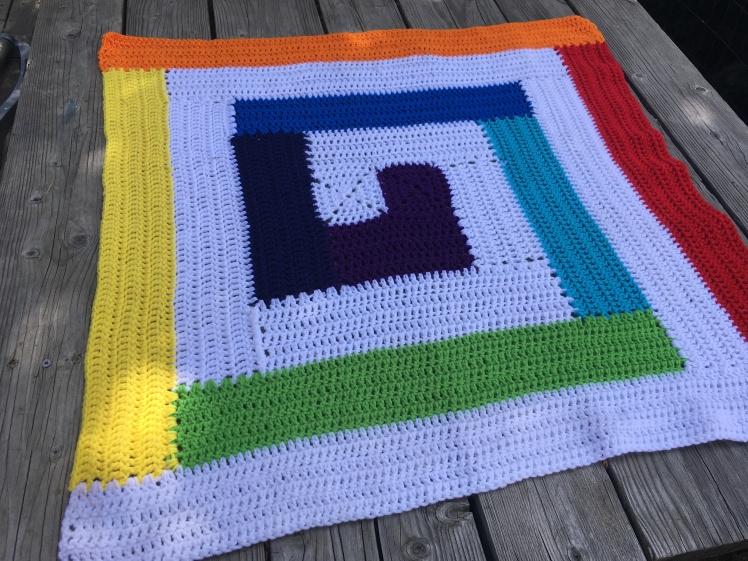 Rainbw Spiral Baby Blanket