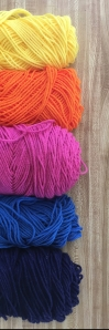 The yarn choices for the Summer Sunset blanket