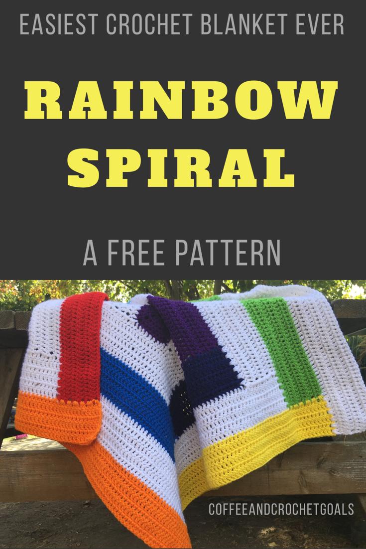 Rainbow Spiral crochet baby blanket
