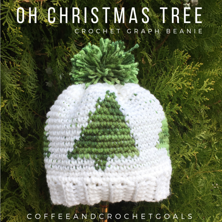 A beautiful winter forest is the hightlight of this Oh Christmas Tree Graph Beanie