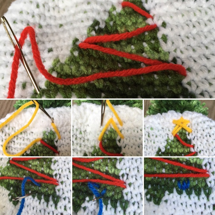Here is a simple picture tutorial for the decorations of the OH Christmas Tree Graph Beanie