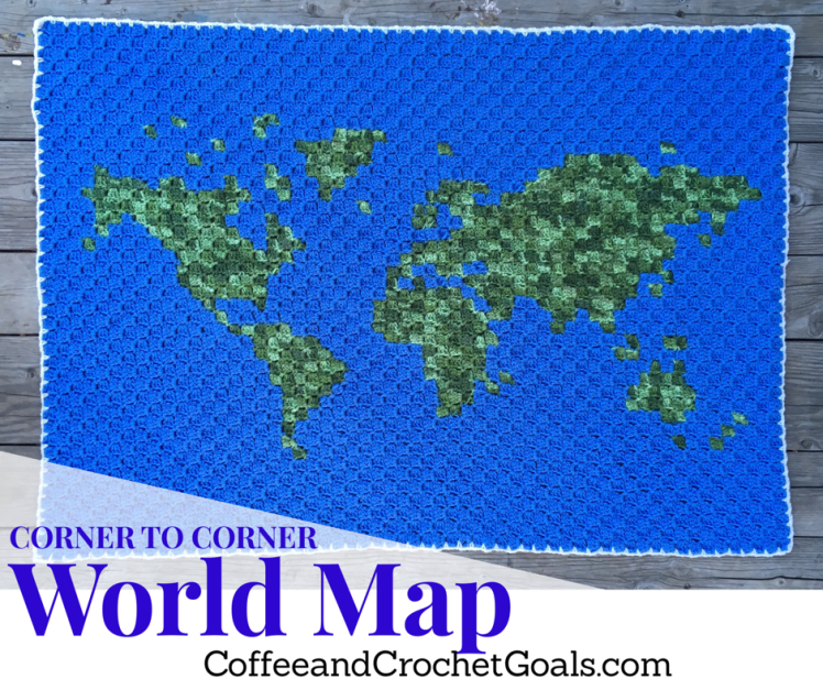 The World may seem flat from this view, but the free crochet pattern World Map is sure to make a statement in anyhome around the globe.