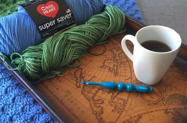 A sneakpeak of the yarn and hook I used to create the corner to corner world map blanket