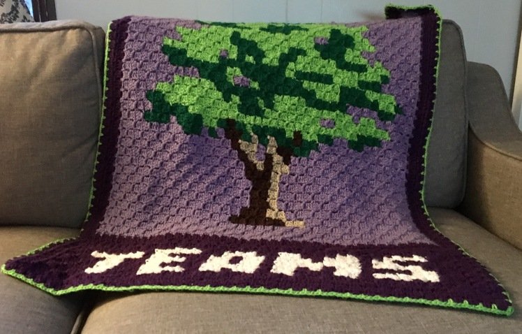 The beaustiful TEAMS Tree Blanket is a challenging corner to corner, sure to wow all your friends.