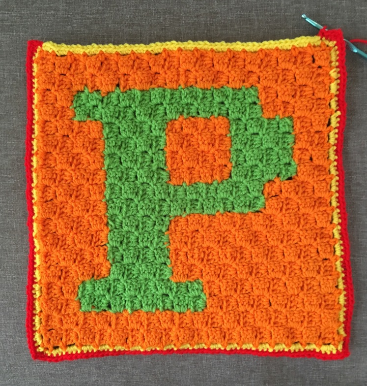 Three sides done with sewing up the P C2C pillow form.