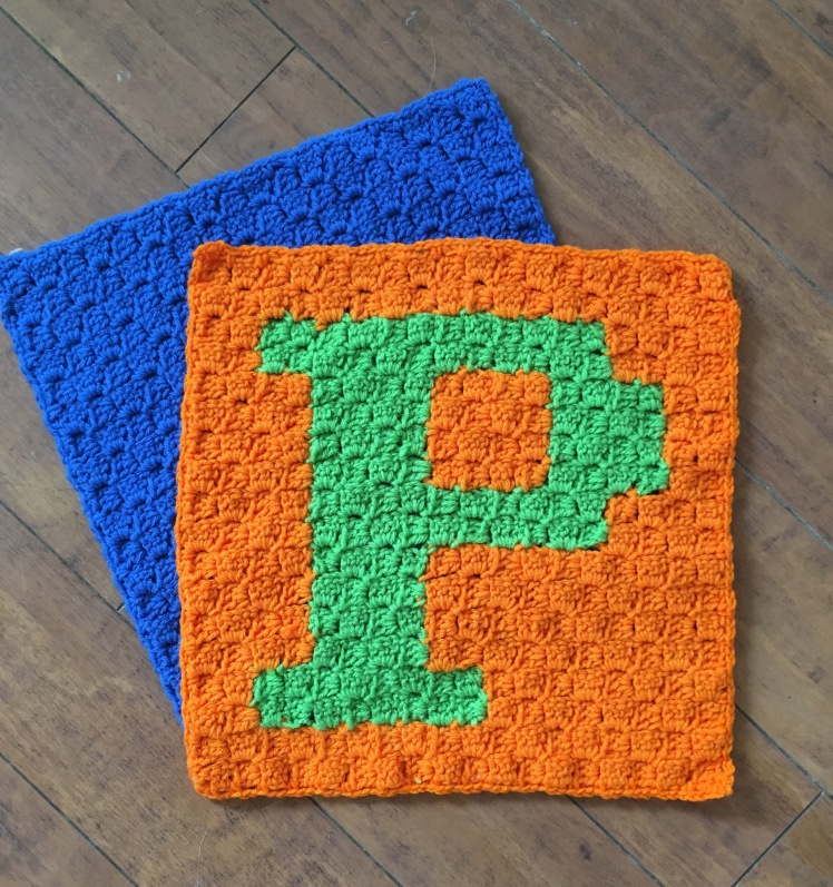 The two pieces are done to create our P C2C pillow four our playroom makeover.