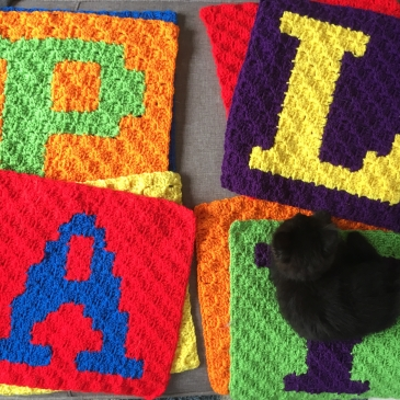The playroom pillow set all ready for stuffing!
