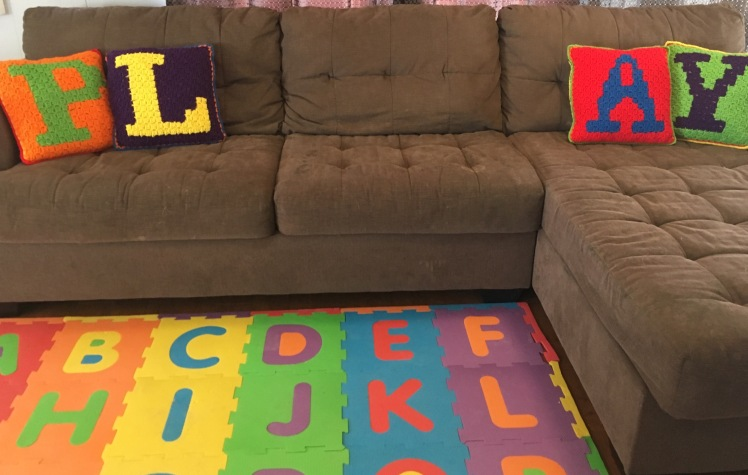 Playroom pillow set is the perfect throw pillow in this fun and whimsical room.