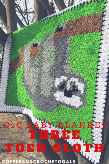 I'll be hanging right here with this Three Toed Sloth C2C baby blanket