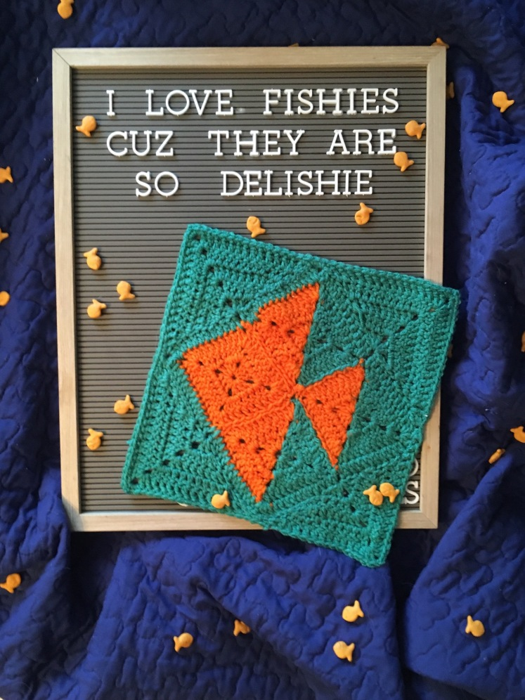 How delicious is this Goldfish Cracker Granny Square